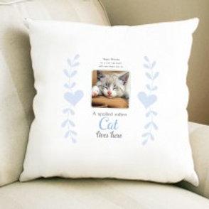 Spoiled Rotten Cat - Velvet Cushion - Photo & Text
