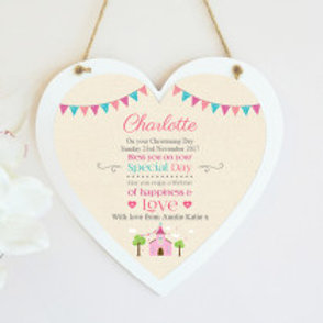 Christening / Holy Communion Hanging Heart - Girl - Name only