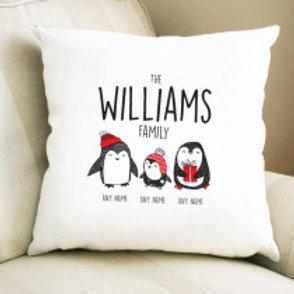 Penguin Family of 3 - Velvet Cushion - Names Only