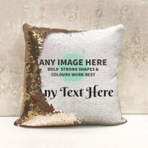 Sequin Cushion - Photo & Text