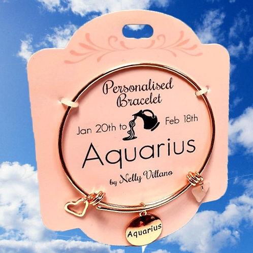 Aquarius Rose Gold Bangle