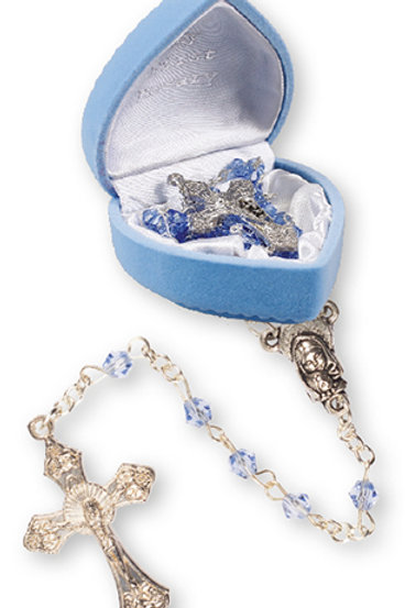 Glass Baby Rosary (Blue) - Velvet Heart Box