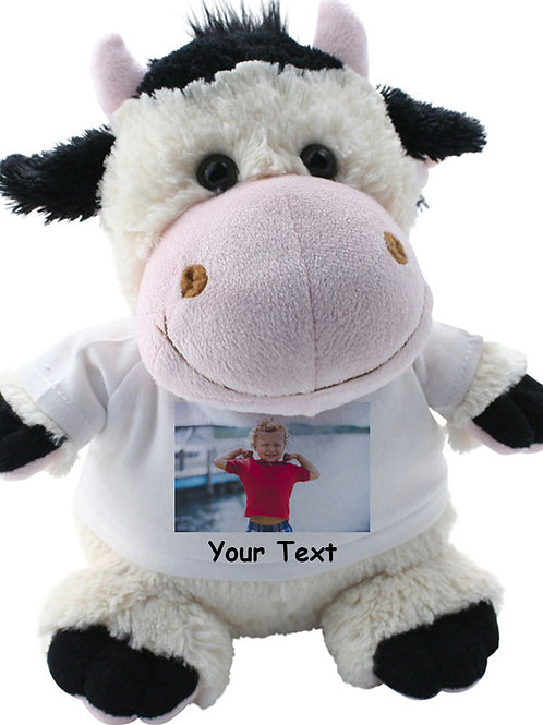 Personalised Cow Teddy Photo and Text