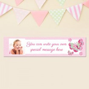 Pink Butterfly Banner - Text & Photo