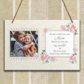 Mum Floral - Metal Hanging Sign - Photo &Text