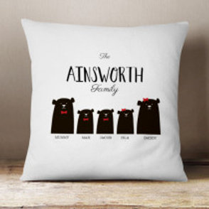 Bear Family of 5 (2 Boys 1 Girl)  - Velvet Cushion - Names Only