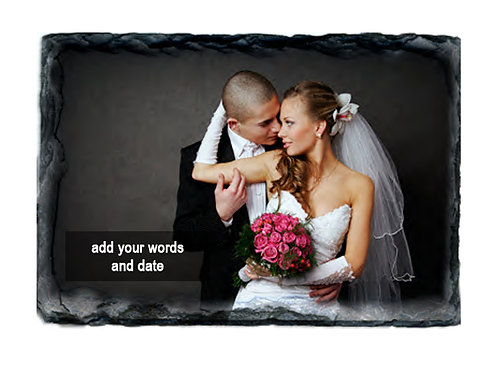 Large Wedding Slate Photo and Text
