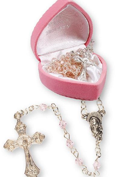 Glass Baby Rosary (Pink) - Velvet Heart Box