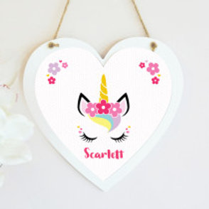 Unicorn Hanging Heart - Name Only