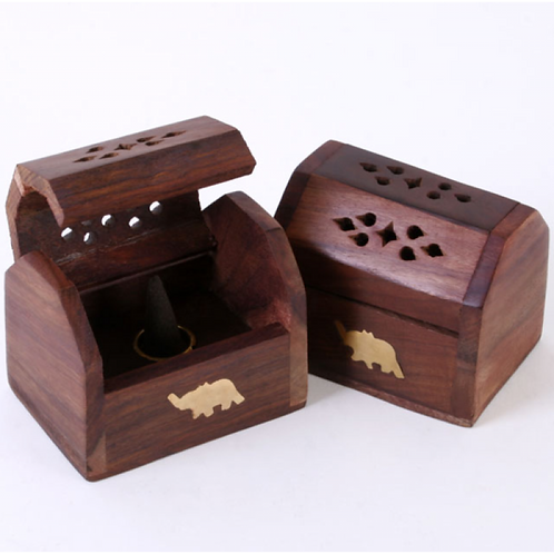 Ash Box Cones 3x2in Brass Inlay