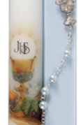 My First Holy Communion Candle & Rosary Blue