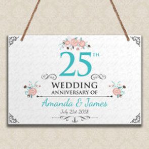 25th Wedding Anniversary - Metal Hanging Sign - Text