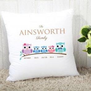 Owl Family of 5 (2 Boys & 1 Girl)- Velvet Cushion - Names Only