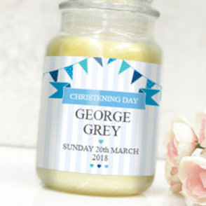 Christening Day Boy - Bottle / Candle Label - Name