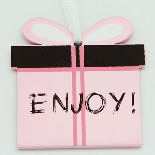 Enjoy wooden gift tag