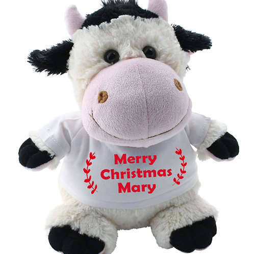 Personalised Cow Teddy Red Merry Christmas with name
