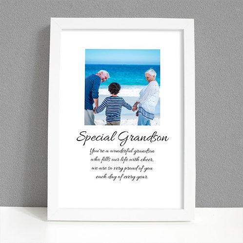 Special Grandson - Framed Artwork - Photo