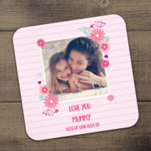 Pink Floral / Stripes Coaster - Photo & Text