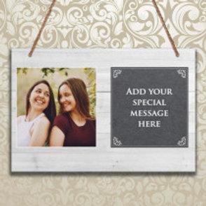 Grey  - Metal Hanging Sign - Photo & Text
