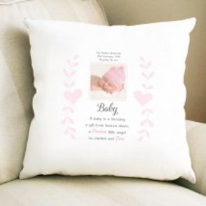 Baby Girl - Velvet Cushion - Photo & Text