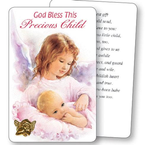 God Bless This Precious Child (Pink) - Mini Card