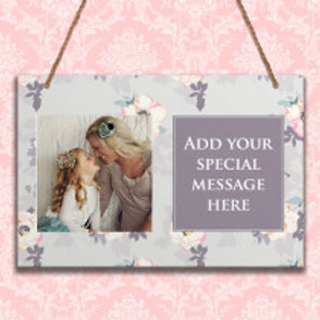 Grey Floral - Metal Hanging Sign - Photo & Text