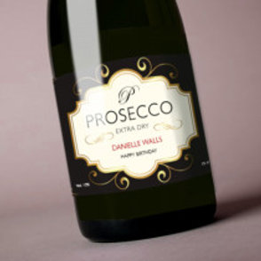 Prosecco (Birthday) - Bottle / Candle Label - Name
