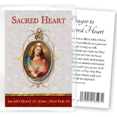 Sacred Heart - Gilt Medal (Gold) & Leaflet