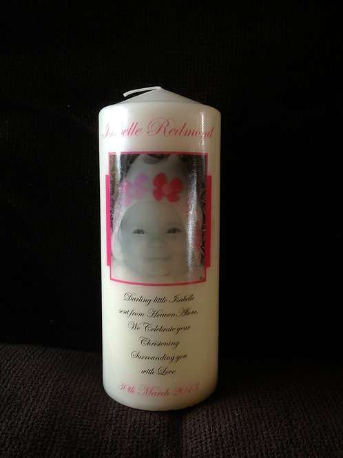 Personalised Christening Candle with Photo