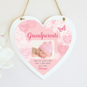 Grandparents - Pink Hanging Heart  - Photo