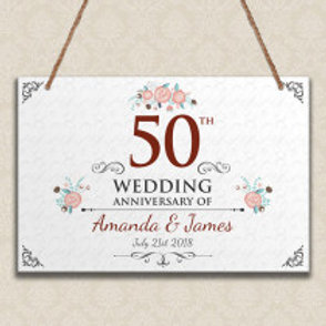 50th Wedding Anniversary  - Metal Hanging Sign -  Text
