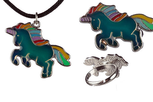 Mood Set - Mood Ring and Matching Mood Necklace of Enchanted Rainbow Unicorn