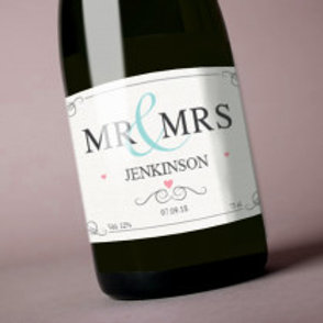 Mr & Mrs - Bottle / Candle Label - Name