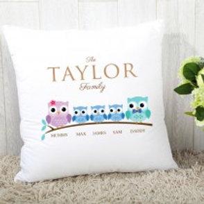 Owl Family of 5 (3 Boys)- Velvet Cushion - Names Only