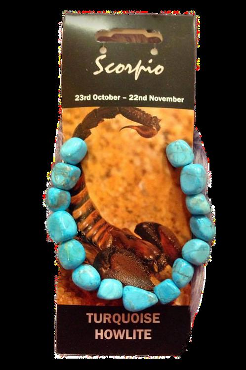 Turquoise Howlite Bracelet - Scorpio Zodiac Sign