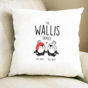 Penguin Couple - Velvet Cushion - Names Only