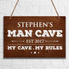 Man Cave  - Metal Hanging Sign -  Text