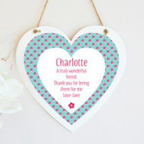 Blue Floral - Hanging Heart  - Text Only