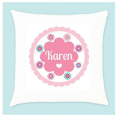 Velvet Cushion - Bright Pink Floral Pattern