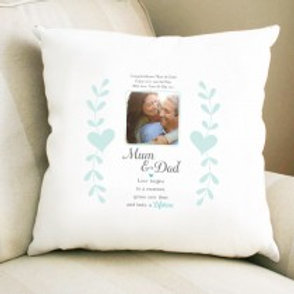 Mum & Dad - Velvet Cushion - Photo & Text