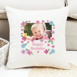 Happy Birthday Floral - Velvet Cushion - Photo Only