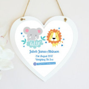 New Baby Jungle - Boy - Hanging Heart  - Text Only