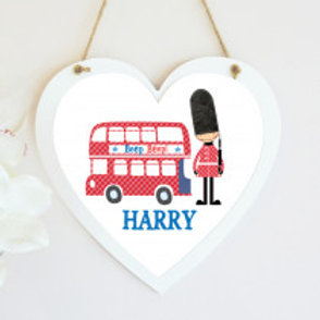 London Bus - Hanging Heart  - Name Only