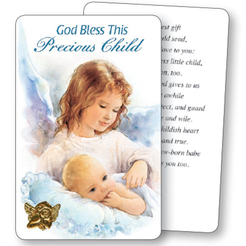 God Bless This Precious Child (Blue) - Mini Card
