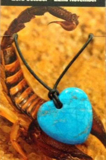 Turquoise Howlite Heart Pendant - Scorpio Zodiac Sign