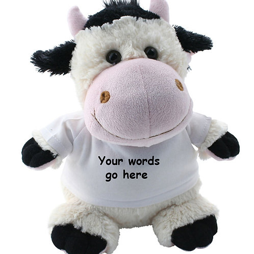 Personalised Cow Teddy Text only