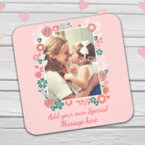 Pink Floral Coaster - Photo & Text