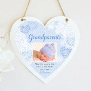 Grandparents - Blue Hanging Heart  - Photo