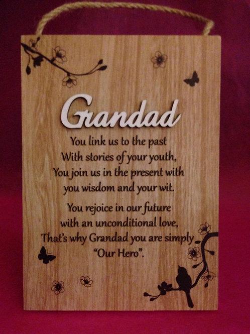 Grandad - Inspirational Hanging / Standing Plaque