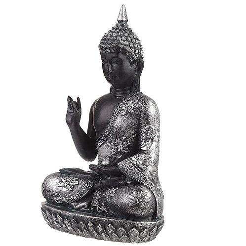 Thai Buddha Figurine Black & Silver – Enlightenment